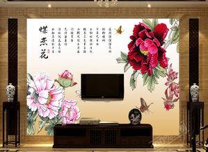 电视背景墙瓷砖背景墙蝶恋花