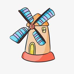 彩色荷兰大风车插画图片素材 其他格式 下载 动漫人物大全