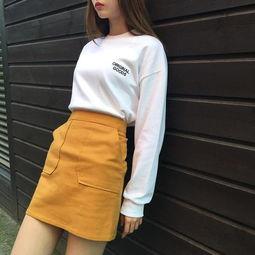 淫色a网-黄色A字裙配白色卫衣-今年春夏女生就得 黄 一点才可爱