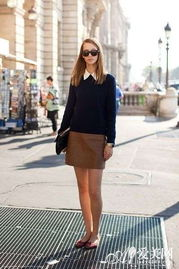 秋装时尚街拍 针织衫 包臀裙显气质