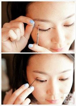 步骤2:确定想要的摺线位置   步骤3:将双眼皮纤维快速黏贴至摺线位...