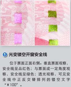 1 新版第五套100元人民币防伪标识之光彩光变数字0 新版第五套100元...