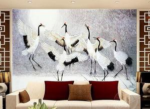 电视客厅沙发背景墙瓷砖背景墙鹤舞图片设计素材 高清psd模板下载 ...