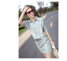 ...思唯尔品牌新品欧美风铆钉牛仔连衣裙女 时尚女装新款特价促销