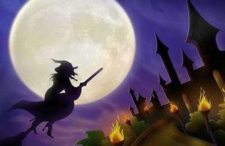 骑着扫帚的女巫,万圣节主题图片在线欣赏